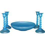 Tiffin Satin Sky Blue Low Bowl and 4  Candleholders