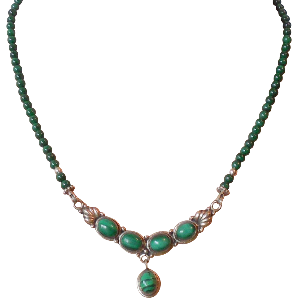 malachite necklace with vintage pendant sold on ruby