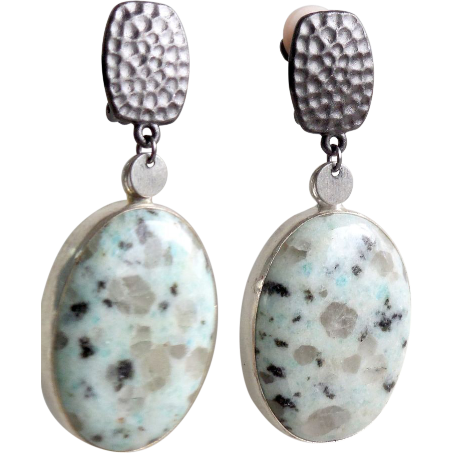 agate gunmetal large clip earrings from rubylane sold on