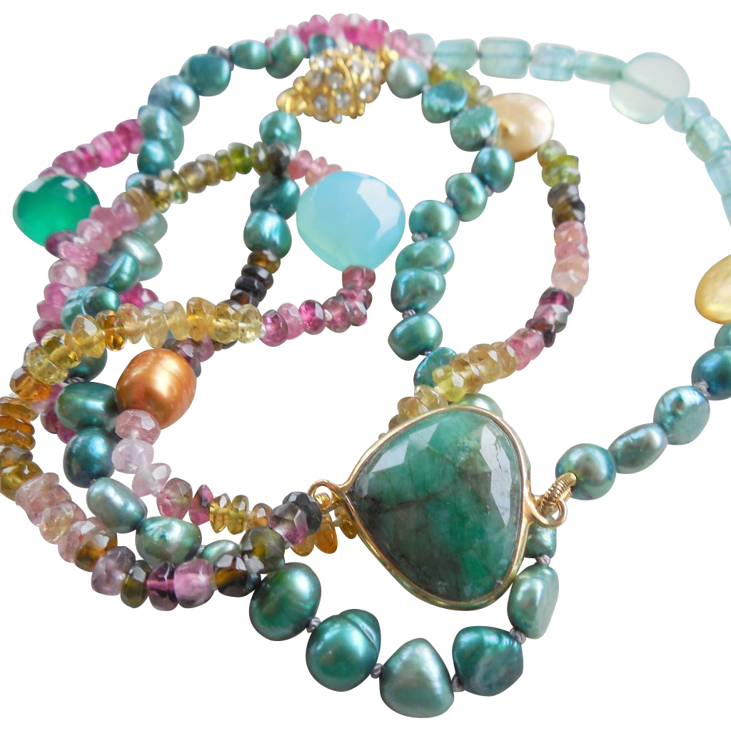 Emerald slice tourmaline and fluorite 31 long boho for Eurasia jewelry miami fl