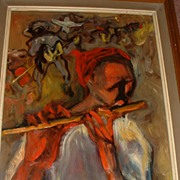 "Listed Artist Carlos Lopez Ruiz 33"" x 15"" Framed Oil on Board Impressionistic Flute Player"