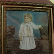"30 3/4"" x 26 5/8"" Framed Antique Hand Colored Photo"