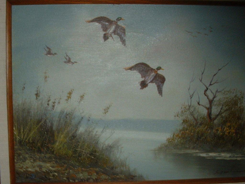 Wildlife Ducks Landscape Oil Painting.