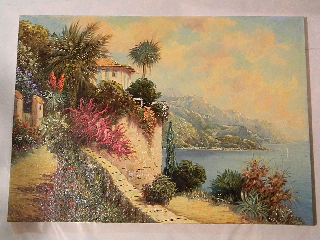 """20"""" x 28"""" Unframed Oil On Canvas  Peaceful Seaside  by Artist Rofini"""