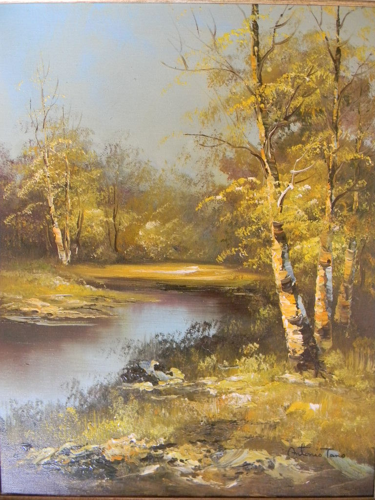 Spring Landscape Oil on Canvas by Artist Antonio Tano.