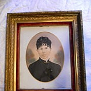 """16"""" x 20"""" Hand Colored Photograph in Great Deep Old 23"""" x 27"""" Wood Frame"""