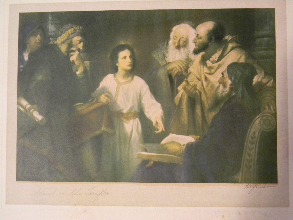 Signed . Heinrich Hofmann 1824-1911   . Christ in the temple Print