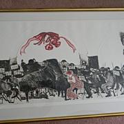 "Swanson . signed . 41"" x 25"" Framed Woodcut Symphony Orchestra -"