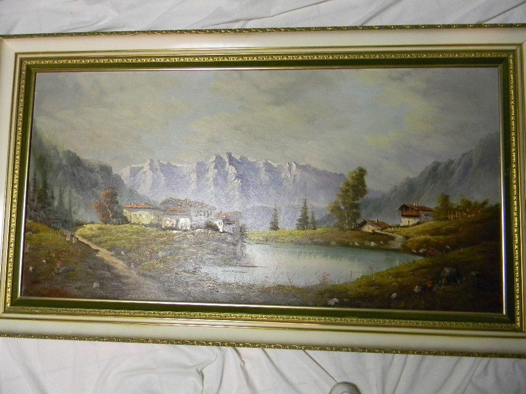 "Carlo Mancini . 55"" x 31"" Framed Oil on Canvas Landscape"