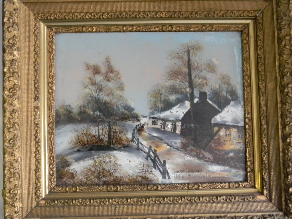 """16"""" x 20"""" Reverse Glass Painting """"Winter in Holland"""" . Ornate 28"""" x 24"""" frame"""