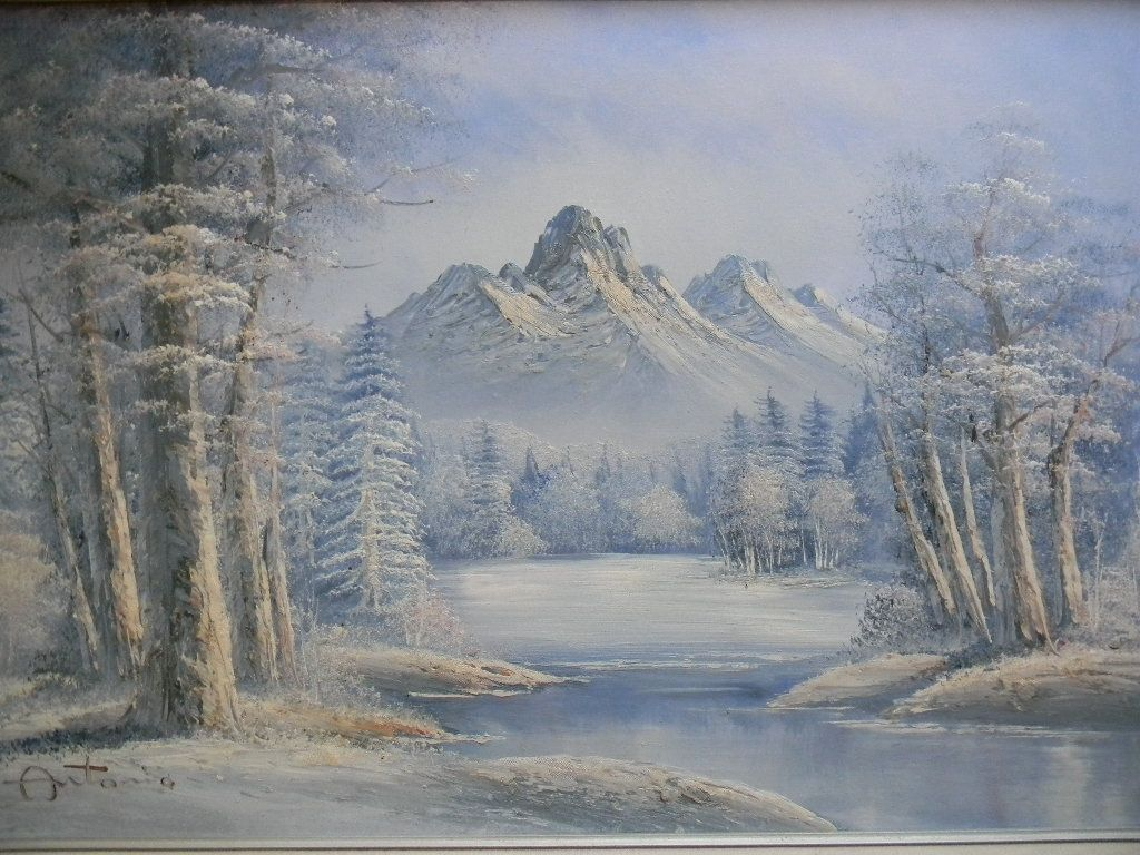 "Antonio . signed 42"" x 30"" Framed Oil painting Winter Landscape."