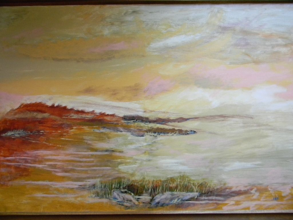 "Pat Kretchmer .  40"" x 28"" Framed Oil Painting on canvas . ""Red Tide""."