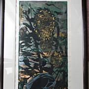 "Tadashi Nakayama . listed artist . Woodblock - ""Girl and Sunflower"""