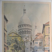 Barday . Signed Etching  .  Paris.