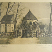 Lundberg . Etching . Cottages Behind the Gate.