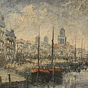Donck . Vintage Unframed Impressionistic Oil Painting . Signed