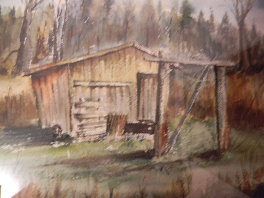 Signed . Watercolor Country Shed