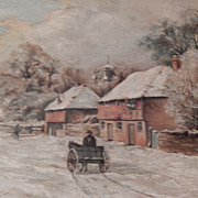 Antique Winter Scene Oil Painting on Canvas . Great Details