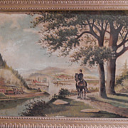 W H Brown . Antique Landscape Oil Painting . 1887