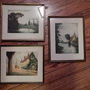 Three Colored Etchings , 2 signed.