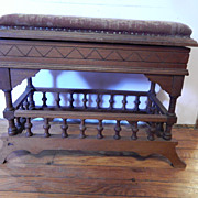 Antique Victorian Needlepoint Lift Top Bench / Stool