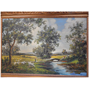 "B M Brown . Large 44 "" x 32 "" framed oil painting on canvas Landscape . signed"