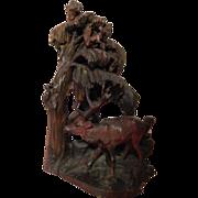 """Black Forest . 19 1/2"""" Carved Wood Sculpture . Deer, Owl, Bird, Squirrel, more ."""