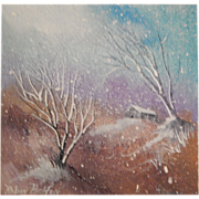 "Robin Bolton . "" Snowscape 4 "" . Winter Landscape Painting on Canvas. FREE USA SHIPPING!"
