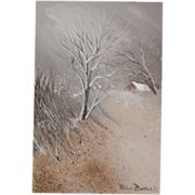 "Robin Bolton . ""Snow Scape I "" Landscape Painting on Canvas. FREE USA SHIPPING!"