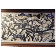 Woodcut 4 / 7 of Horses . Signed . Connie Eshelman
