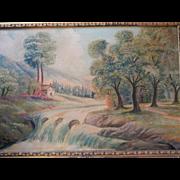 "Vintage 1944 Signed ""Hikmat Hidayat "" ? Large Oil Painting Landscape. FREE USA SHIPPING!"
