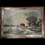 Vintage . Signed John Whites .  Large Oil Painting Country Scene