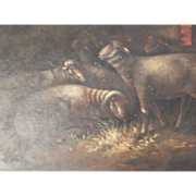 Unframed Antique Oil Painting of Sheep - Darkened with Age.