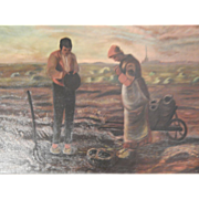 Antique Oil Painting - Couple in a Field