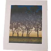 "Large artist signed 32"" X 28"" WoodCut ""Sunset """