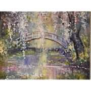 Oil Painting - Bridge over Water with Cherry Blossoms