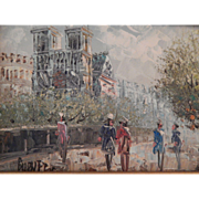 Oil Painting - Impressionistic Paris Scene - signed Burnet.