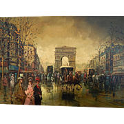 Andre Masset . Listed Artist . Large Oil Painting on Canvas . Impressionistic Paris Scene