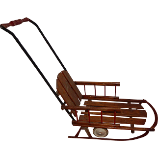 Antique Auto-Wheel Coaster Tiny Tot Sled-Sleigh with Handle & Wheels