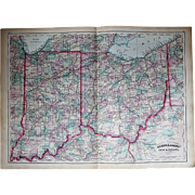 """Antique 1872 24"""" x 17 1/2"""" Map of Indiana and Ohio"""