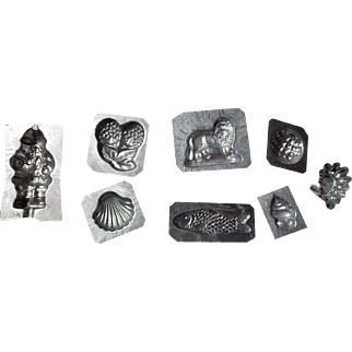 8 Vintage antique miniature chocolate molds, or butter molds . 5 marked Eppelsheimer & Co.