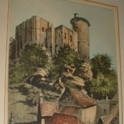 Vintage Palaise Le Donjon Etching.
