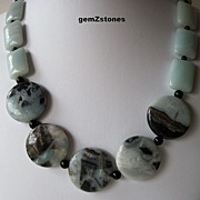 Chunky Blue Green Amazonite, Black Tourmaline and Onyx Necklace