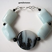 Chunky Blue Green Amazonite, Black Tourmaline And Onyx Bracelet