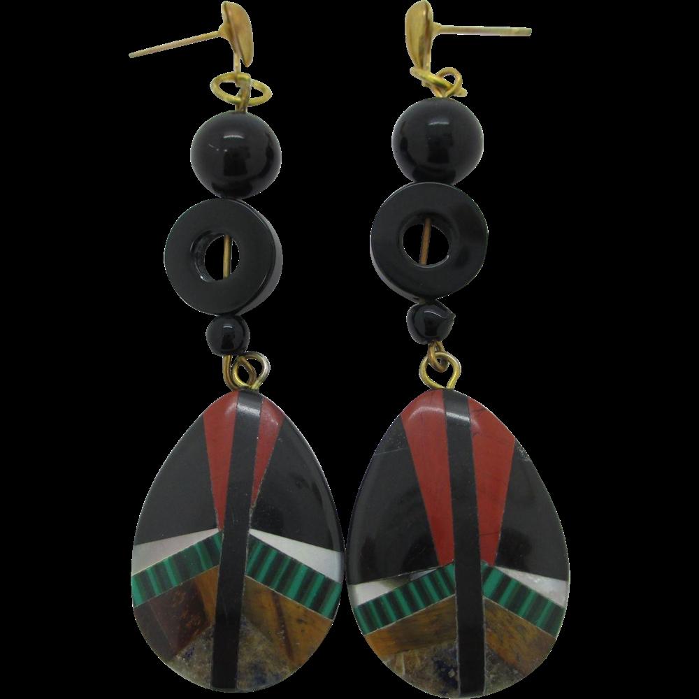 Mosaic Gemstone Inlay Dangle Earrings