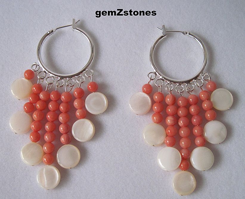 White Mother Of Pearl And Coral Dangle Earrings