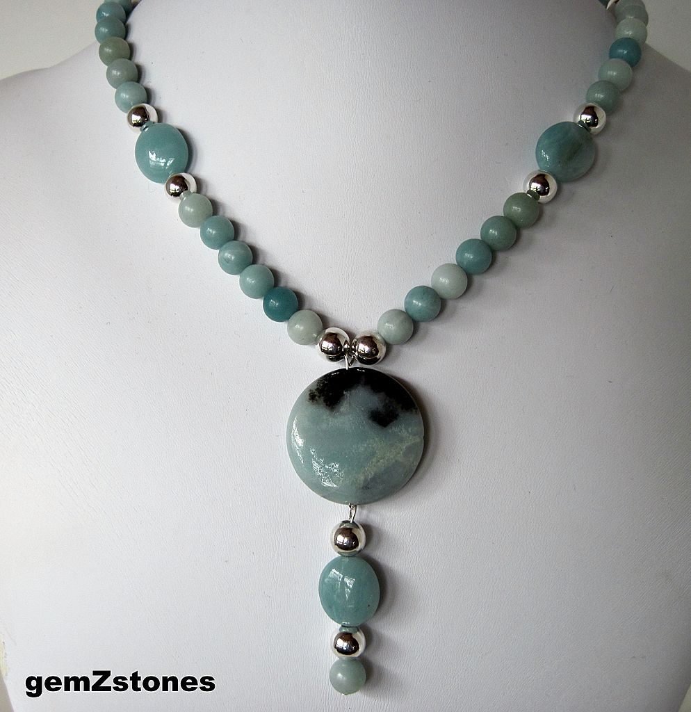 Aqua Blue Amazonite And Silver Single Strand Necklace With Pendant
