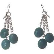 Aqua Colored Amazonite And Silver Chain Dangle Earrings