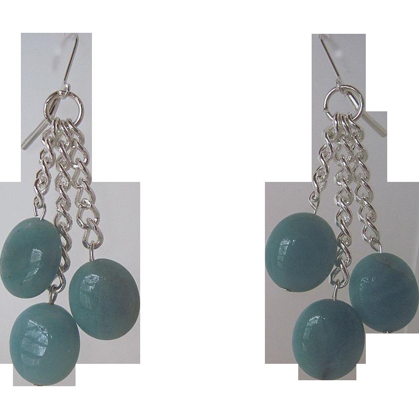 Aqua Colored Amazonite And Silver Chain Dangle Earrings