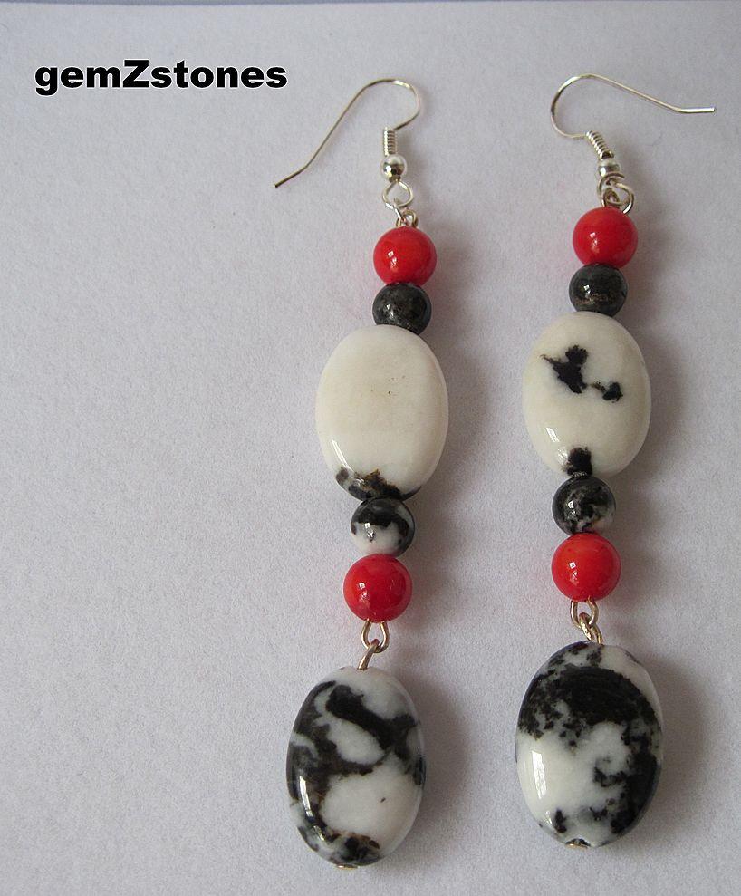"Exotic Zebra ""Jasper"" And Bright Red Coral Dangle Earrings"